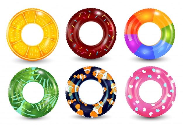 Anéis de natação em fundo branco. brinquedo de borracha incapaz. coleção colorida lifebuoy. verão. ilustração realista de verão.