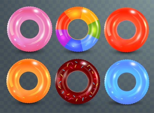 Anéis de natação em fundo transparente. brinquedo de borracha incapaz. coleção colorida lifebuoy. verão. ilustração realista de verão.