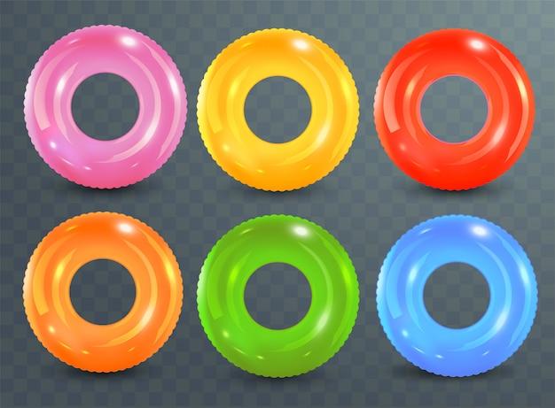 Anéis de natação em fundo transparente. brinquedo de borracha inflável. coleção colorida lifebuoy. verão. ilustração realista de verão. férias de verão ou segurança de viagem.