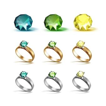 Anéis de noivado de ouro siver com diamantes verde esmeralda e amarelo