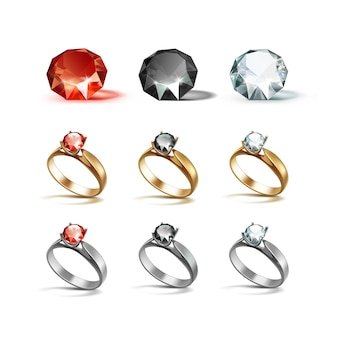 Anéis de noivado de ouro siver diamantes vermelhos em preto e branco