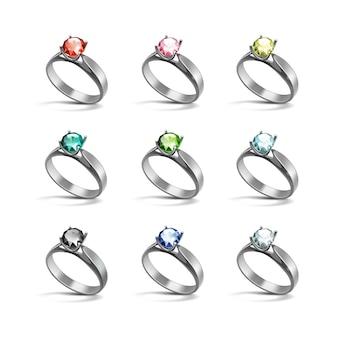 Anéis de noivado em prata vermelho rosa azul verde preto branco diamantes