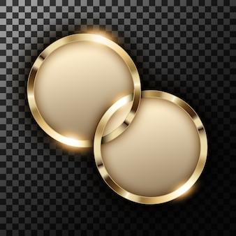 Anéis de ouro metálicos com espaço de texto