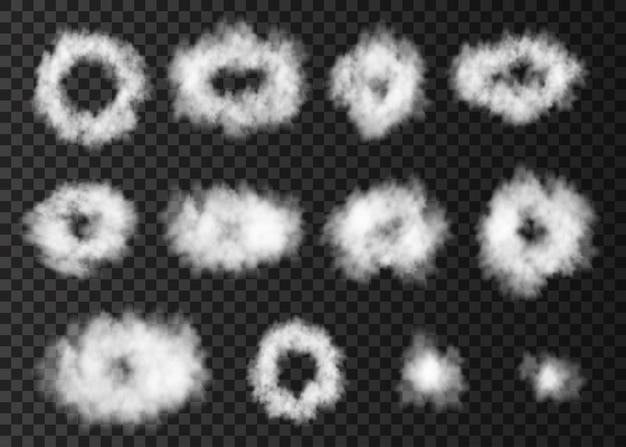 Anéis de vapor de efeito especial de cachimbo. sopro de fumaça branca isolado em fundo transparente. círculos crescentes de vetor realista de nevoeiro ou textura de névoa.
