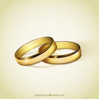 Anéis dourados para o casamento