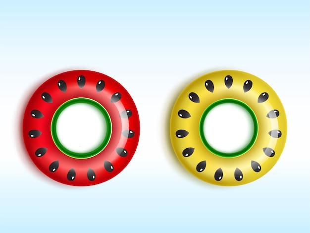 Anéis infláveis vermelhos e amarelos com padrões de sementes de melancia e melão
