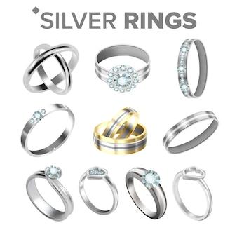 Anéis metálicos de prata brilhantes diferentes