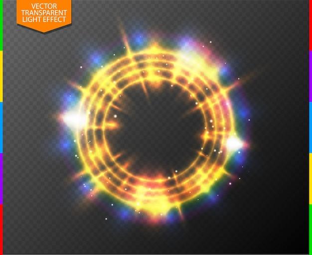Anel brilhante abstrato semitransparente de luz dourada de néon com holofotes coloridos e faísca