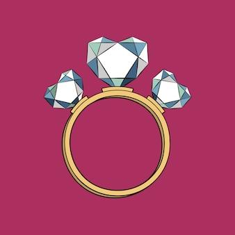Anel com corações de diamante