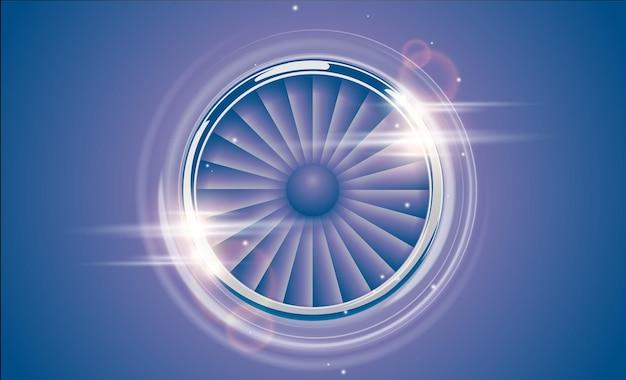 Anel cromado jet engine turbine no estilo retro cor azul violeta com efeito de luz de reflexo de lente. vista frontal detalhada do motor do avião. aeronaves de vetor turbo ventilador de avião, símbolo do ícone de energia de máquinas.