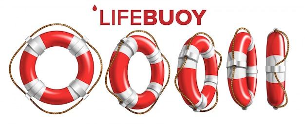 Anel de barco lifebuoy em vista diferente