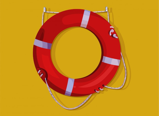 Anel de bóia salva-vidas vermelho pendurado na parede amarela. poupança de vida