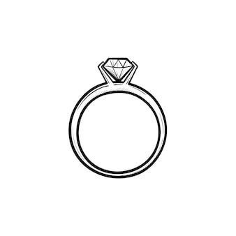 Anel de casamento com ícone de doodle de contorno desenhado de mão de diamante. luxo, joalheria, noivado, casamento, conceito de presente. ilustração de desenho vetorial para impressão, web, mobile e infográficos em fundo branco.