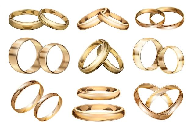 Anel de casamento realista definir ícone.
