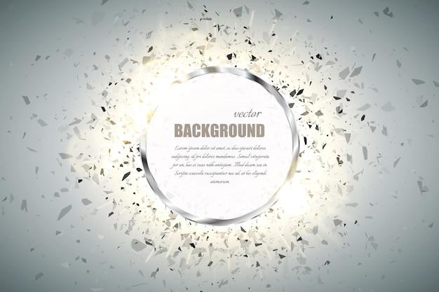 Anel de fundo. moldura redonda de metal cromado brilho com efeito de luz de faísca e grande explosão.
