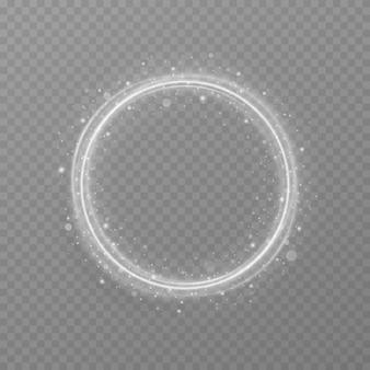 Anel de luz branca de luxo abstrato com efeito de rastreamento
