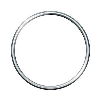 Anel de metal prateado isolado no fundo branco. quadro vazio