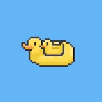 Anel de natação de pato de pixel. temporada de verão.