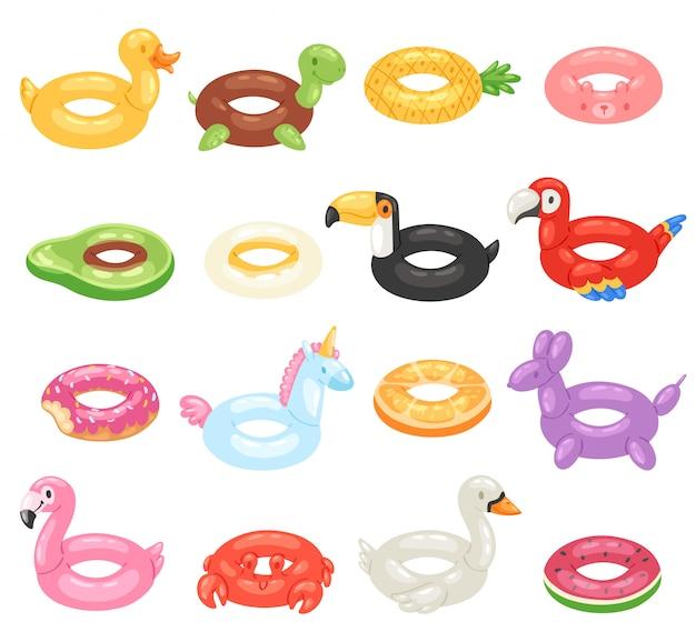 Anel de natação inflável inável e anel de vida na piscina para o conjunto de ilustração de férias de verão de flamingo de brinquedos de borracha de inflação ou rosquinha no fundo branco