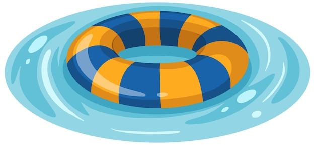 Anel de natação listrado de azul e amarelo na água isolada