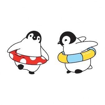 Anel de natação pinguim