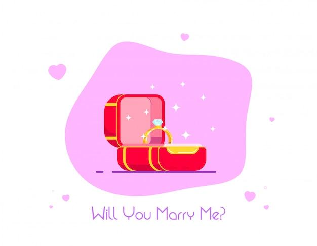 Anel de noivado de diamante em caixa vermelha. proposta de casamento e conceito de amor.