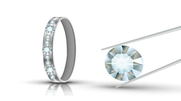 Anel de ouro branco decorado com diamantes redondos