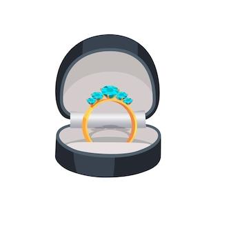 Anel de ouro com diamantes azuis na ilustração da caixa