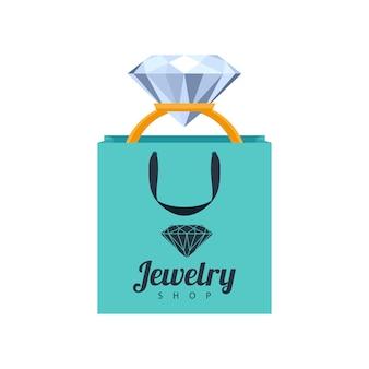 Anel de ouro com diamantes na ilustração turquesa do saco de presente. modelo de ícone de loja de joias.
