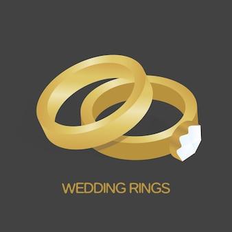 Anel de ouro e anel com ilustração vetorial de diamante grande e brilhante.