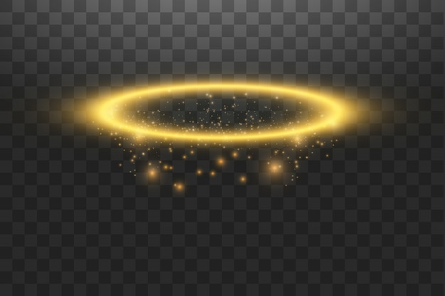 Anel de ouro halo anjo. isolado, ilustração vetorial