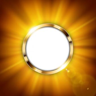 Anel de ouro metálico com espaço de texto e luz dourada