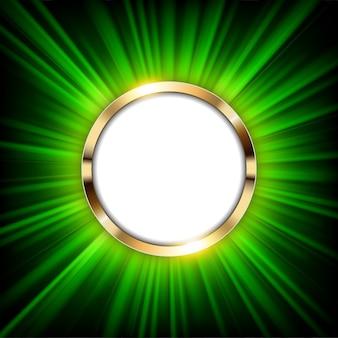 Anel de ouro metálico com espaço de texto e luz verde