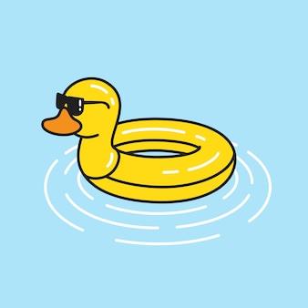Anel de piscina de borracha vetor pato