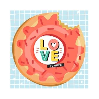 Anel de piscina inflável de donut com letras na moda