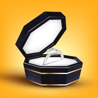Anel de prata com forma de coração na caixa