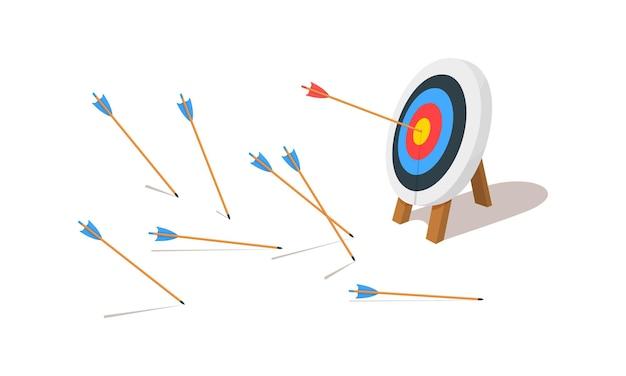 Anel de tiro com arco com um tiro e muitas flechas erradas