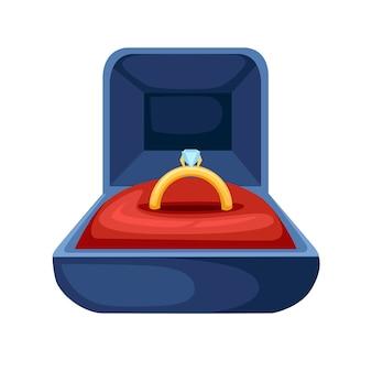 Anel dourado com diamante em veludo azul aberto na caixa para joias
