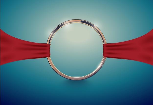 Anel dourado de luxo abstrato com fita de pano vermelha