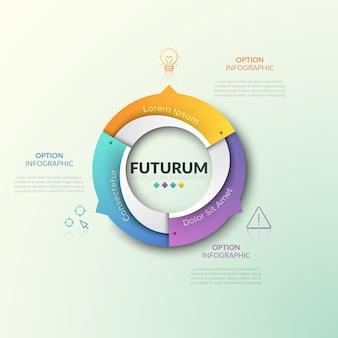Anel gráfico dividido em 3 setores com setas apontando para ícones de linhas finas e caixas de texto. modelo de design futurista infográfico. três características do conceito de processo cíclico.