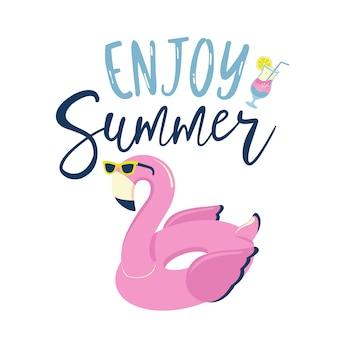 Anel inflável da piscina do flamingo na etiqueta dos óculos de sol.