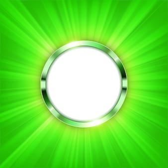 Anel metálico com espaço de texto e luz verde iluminada