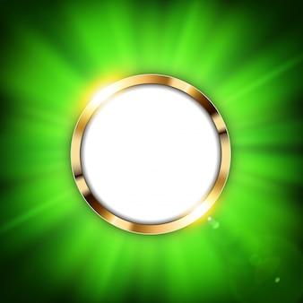 Anel verde metálico com espaço de texto e luz dourada