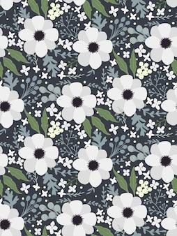 Anêmona heléboro de textura padrão sem costura floral