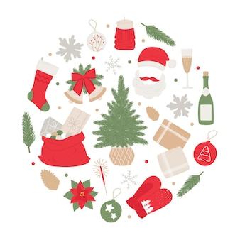 Anew years set handdrawn muitos elementos árvore de natal, sinos, bola, champanhe, presentes, guirlanda