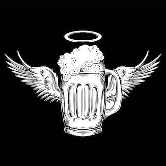 Angel beer cross hatching estilo lineal