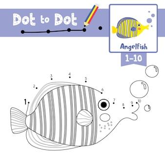 Angelfish ponto para ponto jogo e livro para colorir