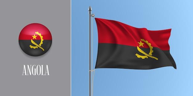 Angola acenando a bandeira no mastro da bandeira e ilustração vetorial ícone redondo. maquete 3d realista com desenho da bandeira angolana e botão do círculo