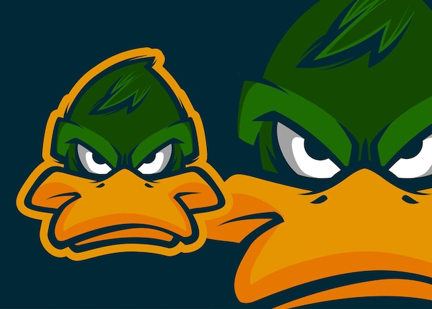 Angry duck head premium vector mascot ilustração