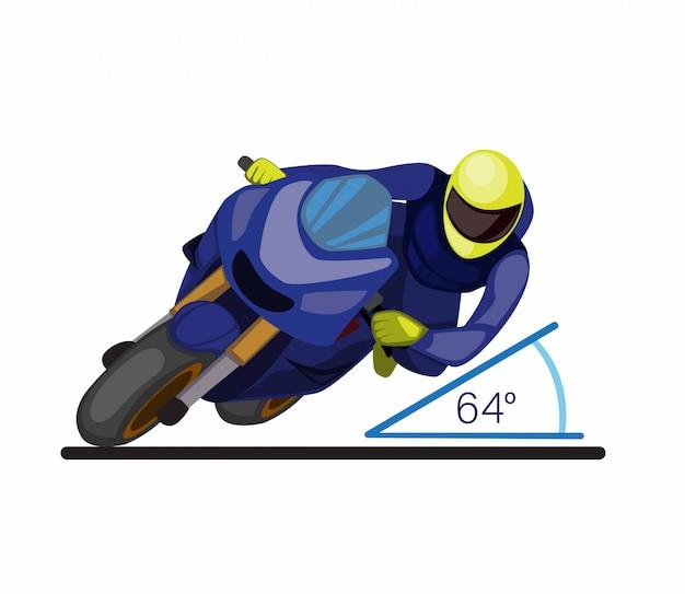 Ângulo de inclinação na curva do automobilismo, estilo de corrida na corrida motogp cartoon ilustração plana